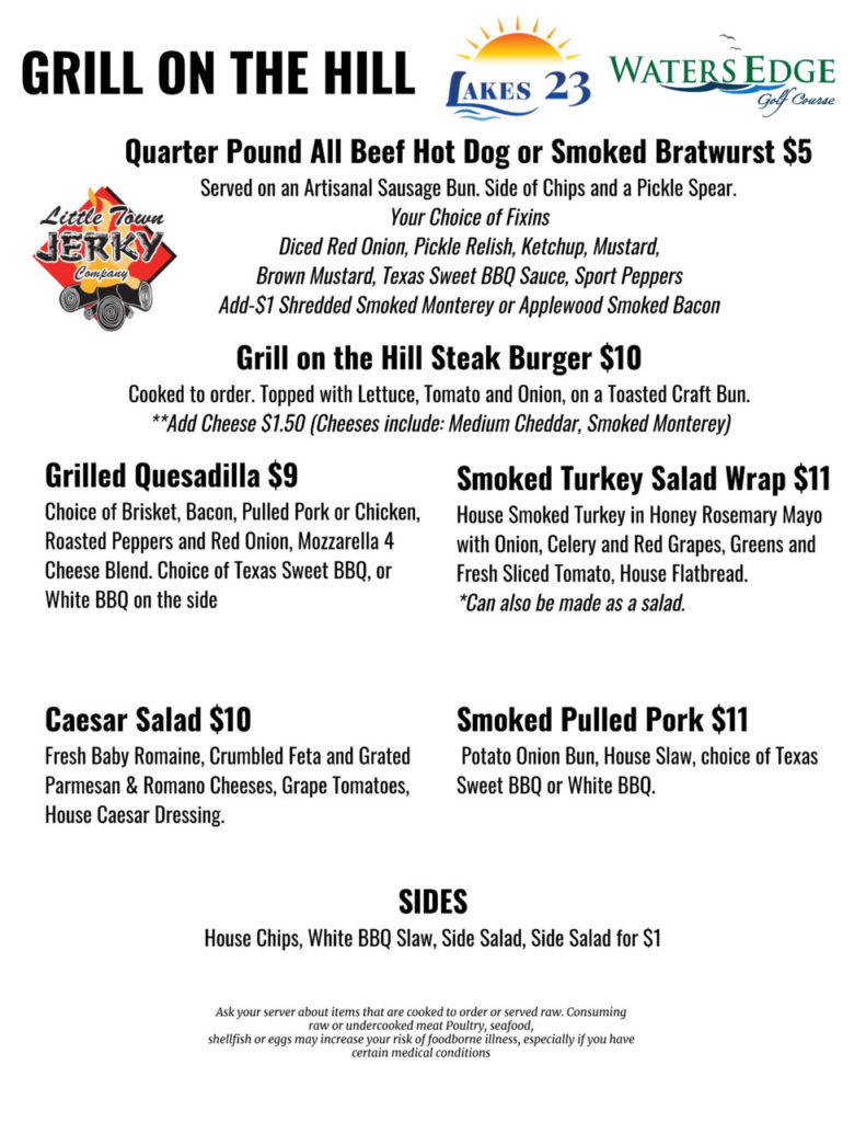 Grill on The Hill Menu Page 1