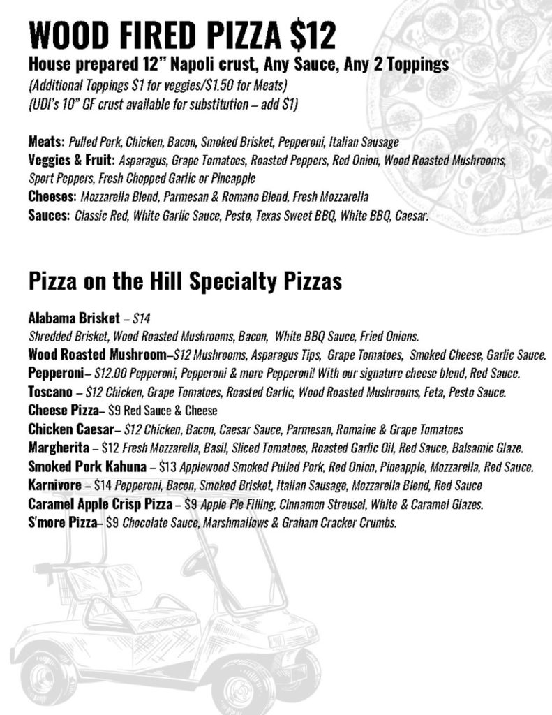 Grill On The Hill Pizza Menu